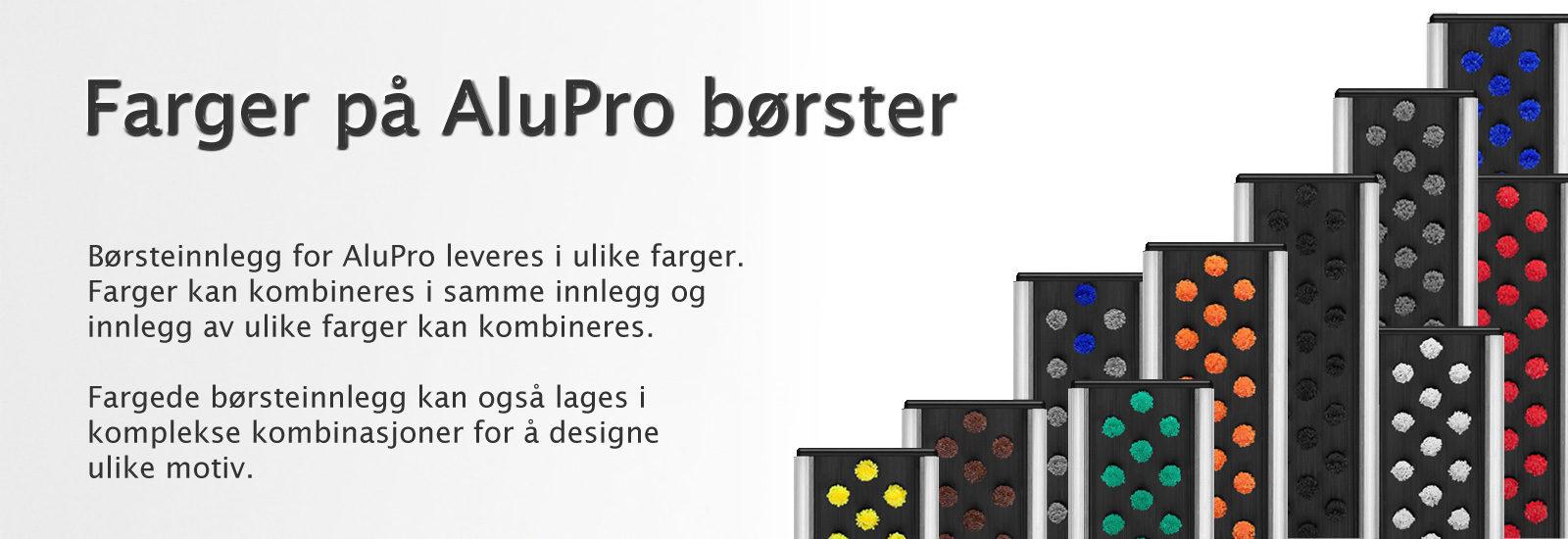 Fargede børsteinnlegg for AluPro